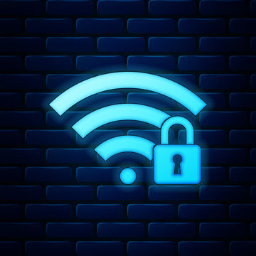 Glowing neon Wifi locked icon isolated on brick wall background. Password Wi-fi symbol. Wireless Network icon. Wifi zone. Vector Illustration