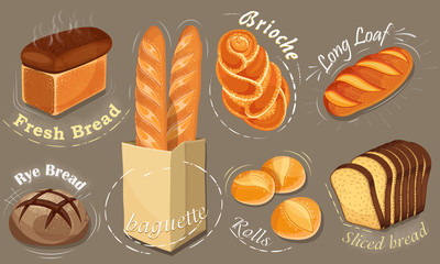 Illustration bread icons set. Long loaf, rye bread, baguette, rolls, brioche.