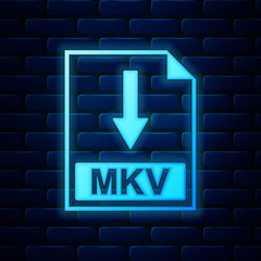 Glowing neon MKV file document icon. Download MKV button icon isolated on brick wall background. Vector Illustration