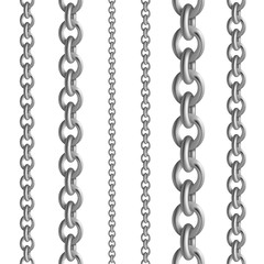 Metal seamless chain collections. Iron steel or silver chains set. Vector illustration metallic border on white background for elegant ladies dress