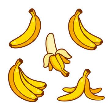 Cartoon bananas illustration set