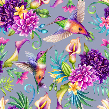 digital watercolor botanical illustration, seamless floral pattern, humming birds, wild tropical flowers, violet background. Paradise nature, garden. Palm leaf, calla lily, plumeria, hydrangea, gerber