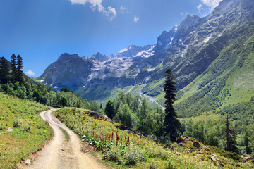 Wall Mural - The road in the mountains of the Caucasus, deep gorge, Arkhyz