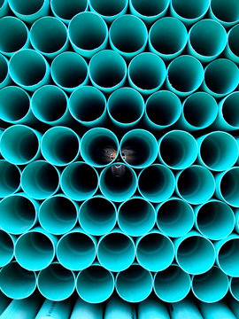 Stack Of Pipes At Construction Site