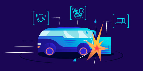 Papiers peints Cartoon voitures Driverless car crash test flat color vector illustration. Self driving van smashing against wall on blue background. Safety bag, damage resistance and obstacle detection system examination