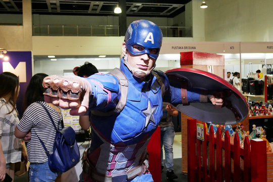 KUALA LUMPUR, MALAYSIA -JUNE 22: Fictional character action figure Captain America from Marvel comics & movies. The action figure displayed for the public by the collector.