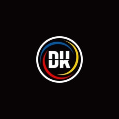 DK logo monogram isolated on circle shape with 3 slash colors rounded design template