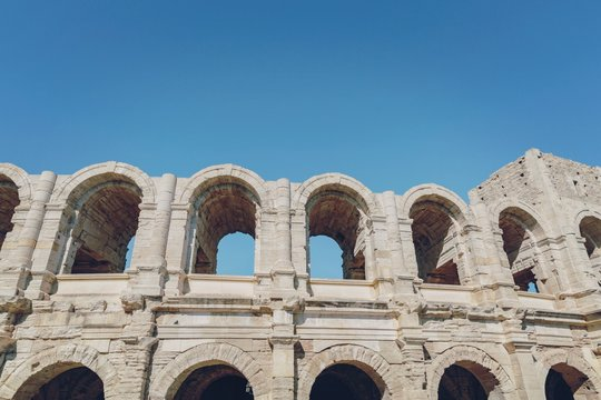 Low Angle View Of Arles Amphitheatre Against Clear Sky