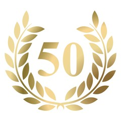 Fiftieth birthday gold laurel wreath vector isolated on a white background