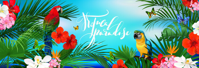 Beautiful tropical banner with flowers,butterfly,parrots and palm leaves on sea background Fototapete