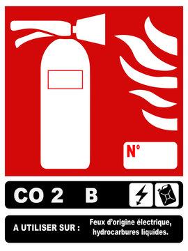 Pictogramme extincteur CO2 B fond bleu marine