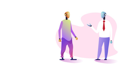 Wall Mural - robotic businessmen couple discussing during meeting artificial intelligence technology concept two robots standing together full length horizontal vector illustration