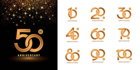 Set of Anniversary logotype design, Celebrating Anniversary Logo multiple line golden for celebration