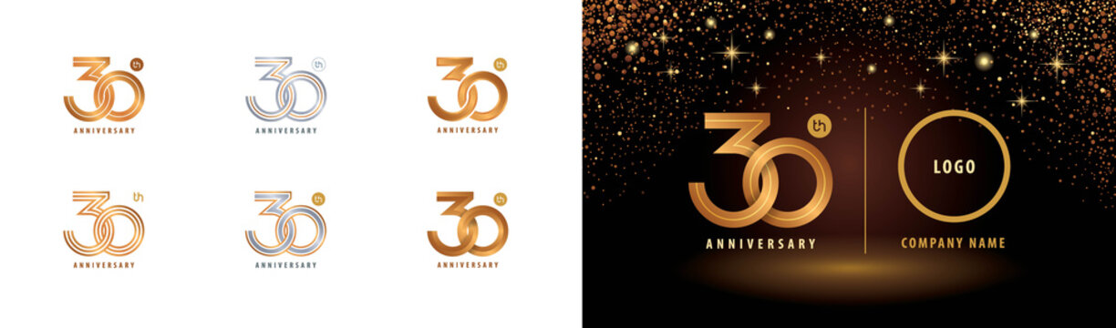 Set of 30th Anniversary logotype design, Thirty years anniversary celebration
