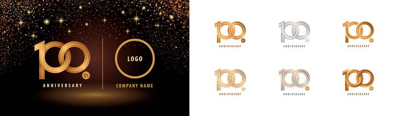 Set of 100th Anniversary logotype design, Hundred years anniversary celebration