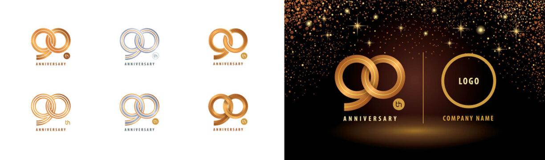 Set of 90th Anniversary logotype design, Ninety years anniversary celebration
