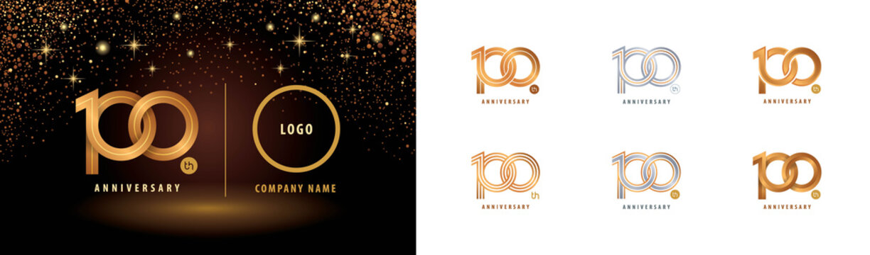 Set of 100th Anniversary logotype design, Hundred years anniversary celebration