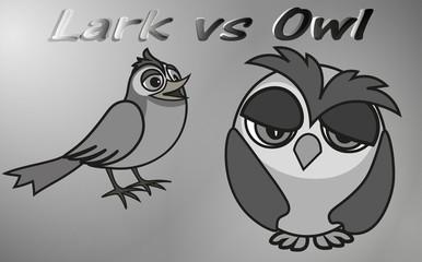 Early Lark versus Sleepy Owl - two chronotypes, vector clip art