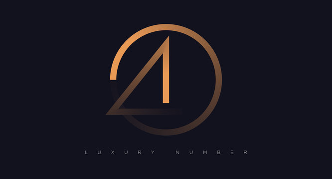 Four number golden icon. Flat design