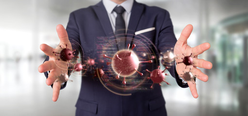 Businessman holding a Group of red virus cell - 3d rendering