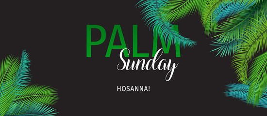 Palm Sunday (HOSSANA!) Holiday Greeting Card. Christian Palm Sunday Vector Illustration.