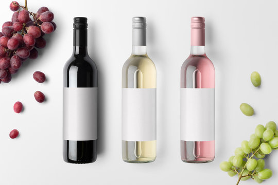 Wine bottles mockup isolated on white background, with blank labels to place your design
