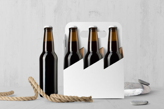 Beer six pack bottles composition mockup on white wooden background, with accessories and blank label to place your design