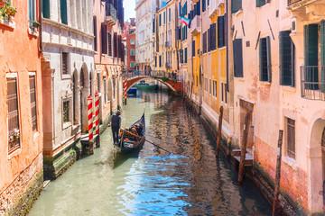 Keuken foto achterwand Gondolas gondola on a picturesque canal in Venice, Italy