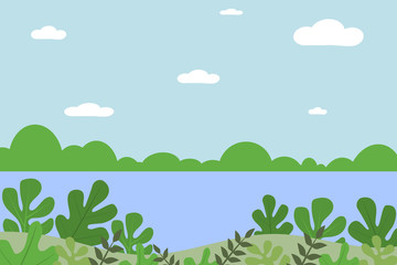 Landscape from fantasy compositions. Sea with mountains and trees in a minimal style. Flat design, vector illustration