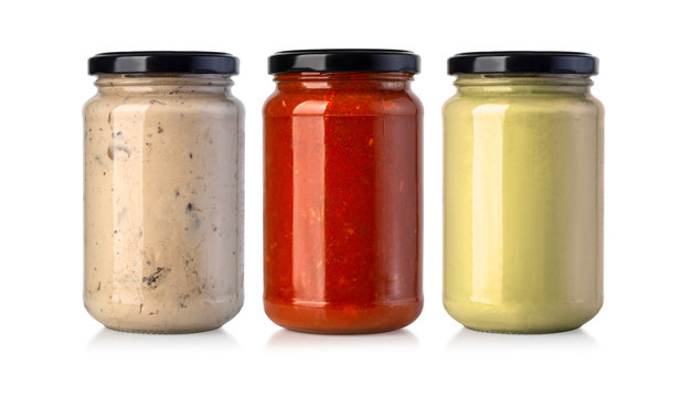 sauce jars on white