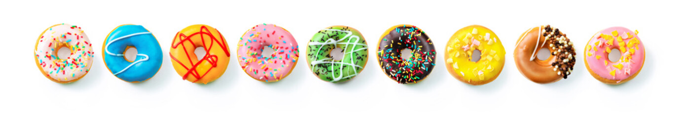 Autocollant pour porte Magasin alimentation Various colourful donuts in a row