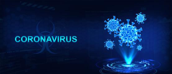 Hologram of coronavirus COVID-2019 on a blue futuristic background. Deadly type of virus 2019-nCoV. 3D models of coronavirus bacteria. Vectonic illustration in HUD style