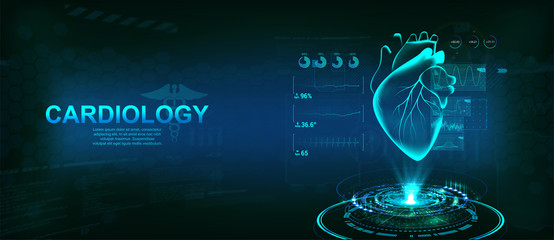 Healthcare Heart hologram, Cardiology technology concept with futuristic interface HUD. Modern medical examination  for monitoring the scanning and analysis of heart disease. Vector illustration