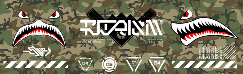 Military prints for clothes, T-shirts and other merchs. Futuristic lettering and design elements on a seamless camouflage background. Modern clothes for the city. Trendy Digital Prints set. Vector