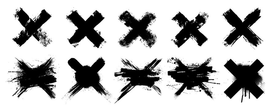 Vector set X black mark. 10 highly detailed and different crosses. Cross sign graphic symbol. High quality manually trace. Grunge X mark. Vector