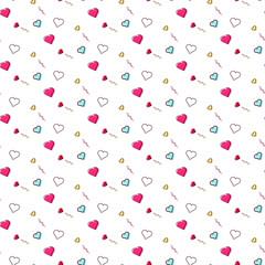 Cute heart love romatic valentines pattern illustration background