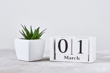 Wooden block calendar with date 1 march and plant on the table. Spring concept