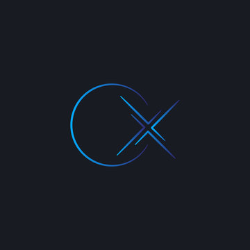 blue O and X letter initial space exploration technology logo template