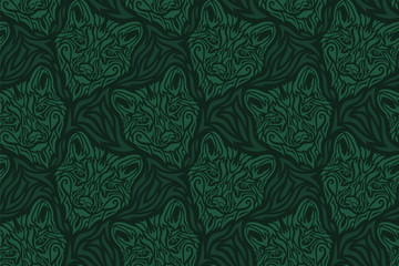 Hand drawn green seamless pattern with wolf head