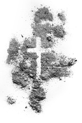 Ash wednesday cross made of ash or dust, as christian faith, lent or religion holiday concept. Jesus Christ suffer on crucifix pain metaphor