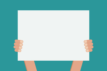 hands holding blank paper board stock vector