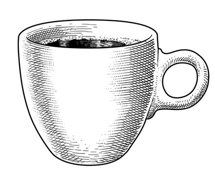 Coffee mug illustration, drawing, engraving, ink, line art, vector
