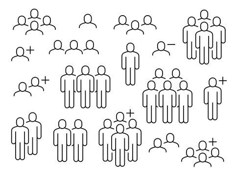 People line icons. Business people groups outline pictograms, add friend request, communication, teamwork and human crowd vector signs