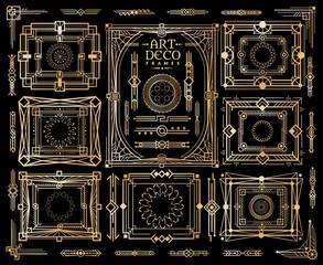 Art deco set. Ornament nouveau pattern, frame and geometric border in vintage style 1920s 30s vector design collection