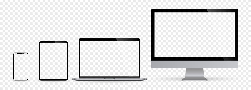 Realistic set of computer monitors desktop laptop tablet and phone with checkerboard screen and background. Isolated illustration vector illustrator Ai EPS