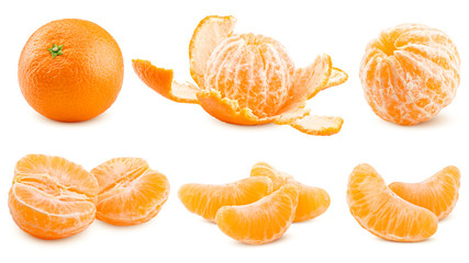 mandarin, tangerine, isolated on white background, clipping path, full depth of field Wall mural