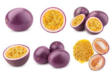 passionfruit isolated on white background, full depth of field