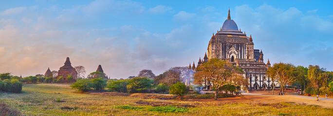 Canvas Prints Honey Panorama of Bagan savanna and Thatbyinnyu Phaya, Myanmar
