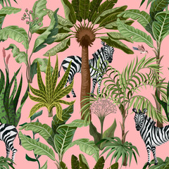 Seamless pattern with tropical trees and zebra. Vector.