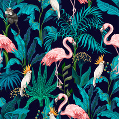 Wall Murals Pattern Seamless pattern with jungle trees, flamingo and parrots. Vector.